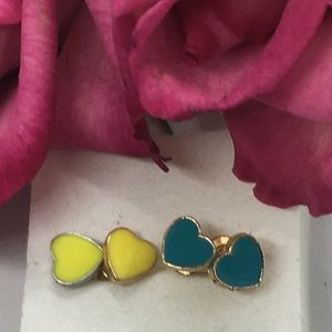 A Set of Two Heart Stud Earrings, Yellow & Teal